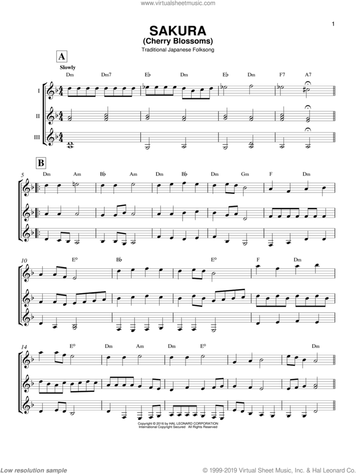 Sakura (Cherry Blossoms) sheet music for guitar ensemble by Traditional Japanese Folk Song, intermediate skill level
