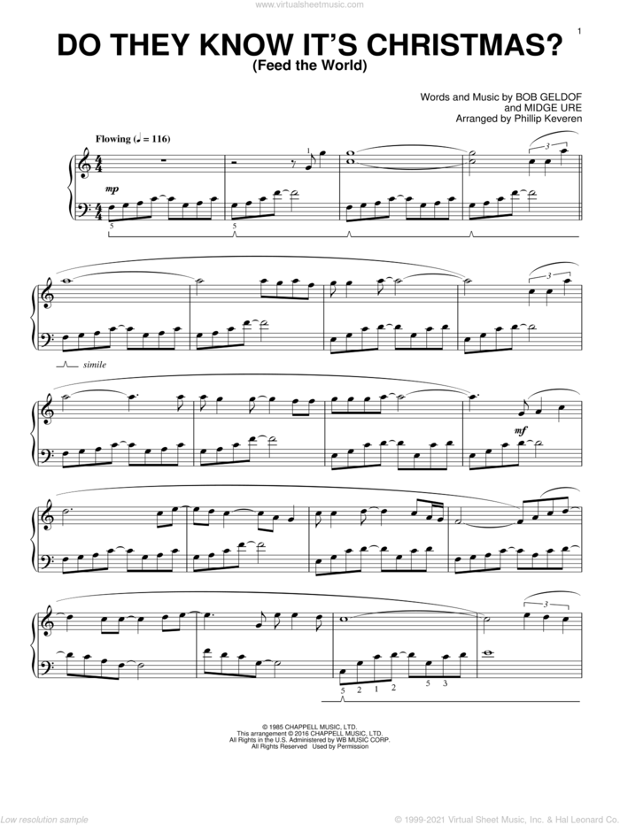 Do They Know It's Christmas? (Feed The World) (arr. Phillip Keveren) sheet music for piano solo by Midge Ure, Phillip Keveren, Band Aid, Glee Cast and Bob Geldof, intermediate skill level