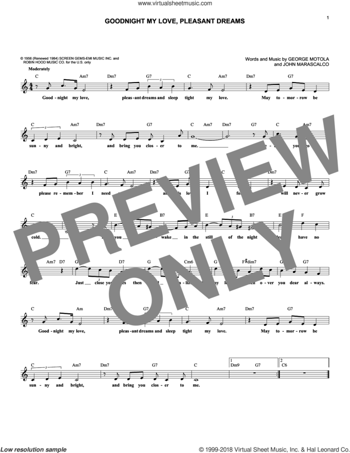 Goodnight My Love, Pleasant Dreams sheet music for voice and other instruments (fake book) by McGuire Sisters, Jesse Belvin, Paul Anka, George Motola and John Marascalco, intermediate skill level