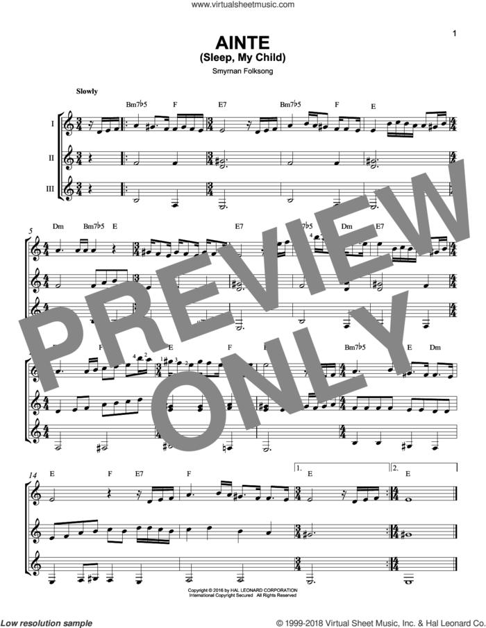 Ainte (Sleep, My Child) sheet music for guitar ensemble by Smyrnan Folksong, intermediate skill level