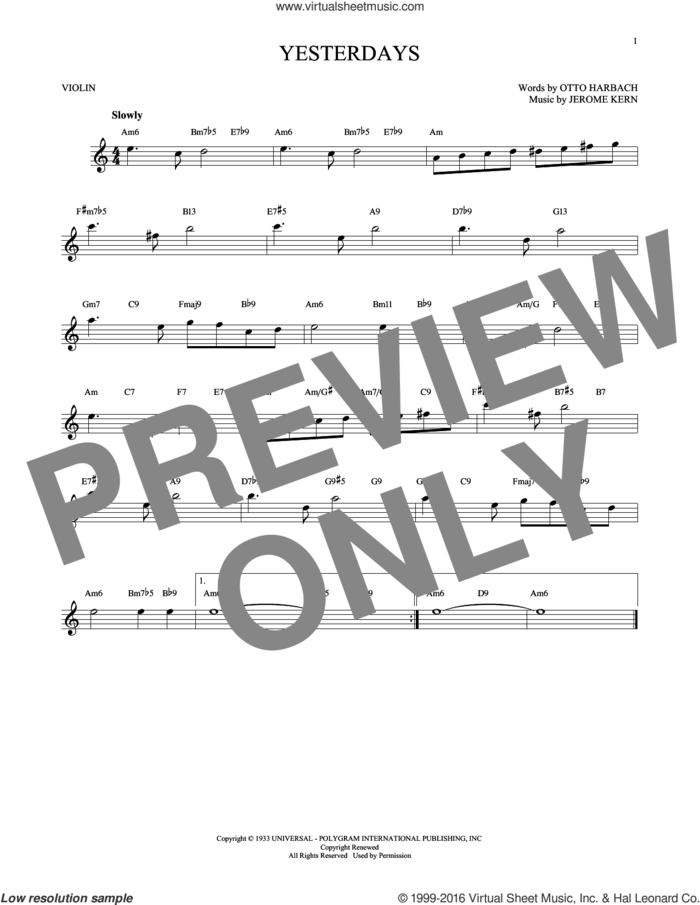 Yesterdays sheet music for violin solo by Jerome Kern and Otto Harbach, intermediate skill level
