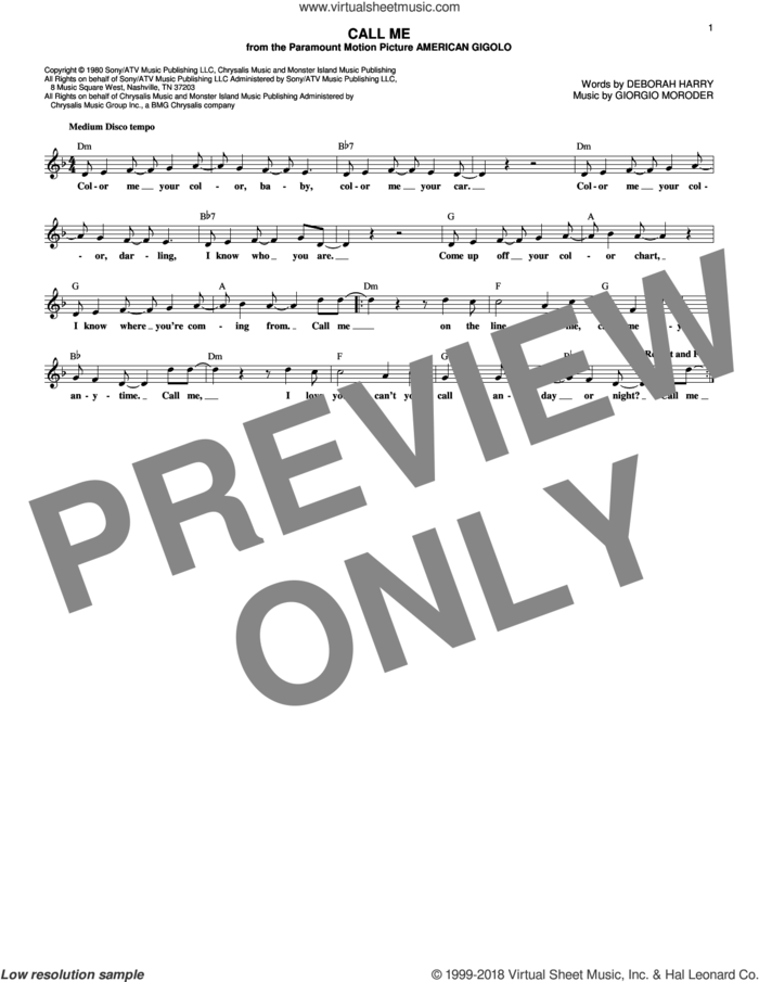 Call Me sheet music for voice and other instruments (fake book) by Blondie, Deborah Harry and Giorgio Moroder, intermediate skill level