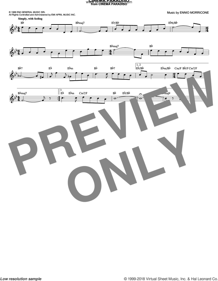 Cinema Paradiso sheet music for voice and other instruments (fake book) by Ennio Morricone and Andrea Morricone, intermediate skill level