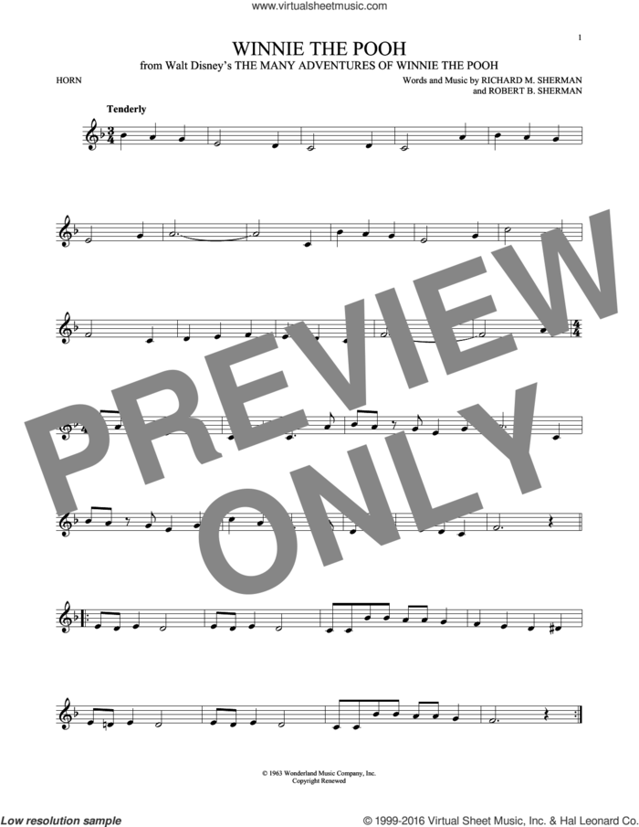 Winnie The Pooh sheet music for horn solo by Richard M. Sherman and Robert B. Sherman, intermediate skill level