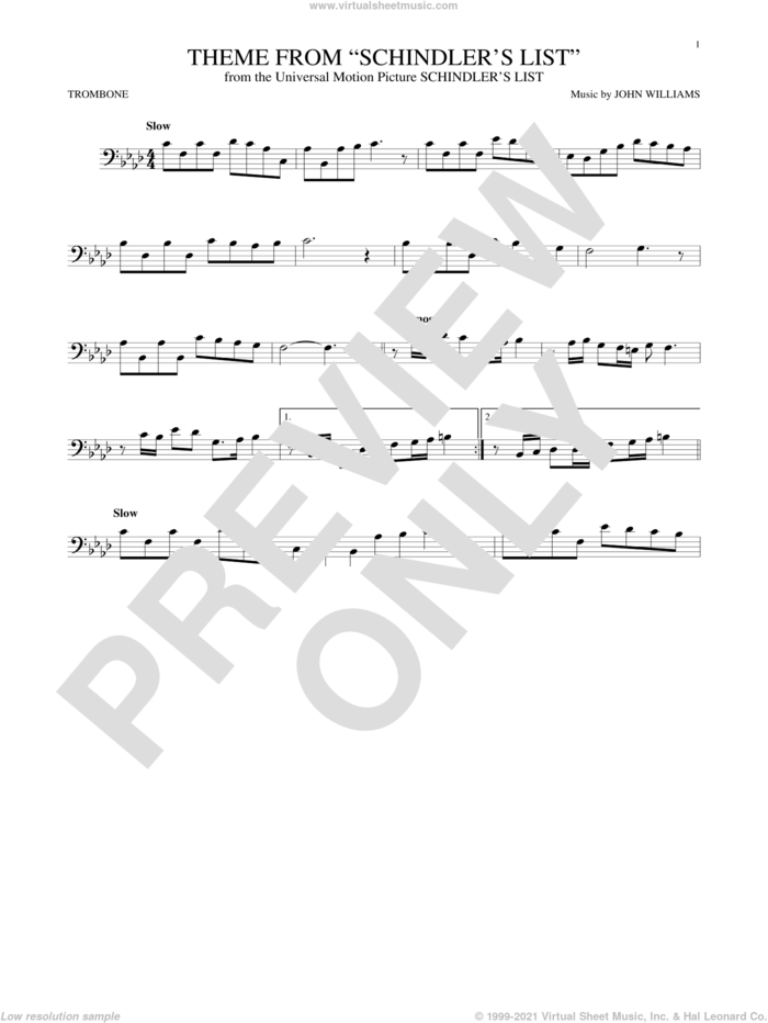 Theme From Schindler's List sheet music for trombone solo by John Williams, intermediate skill level