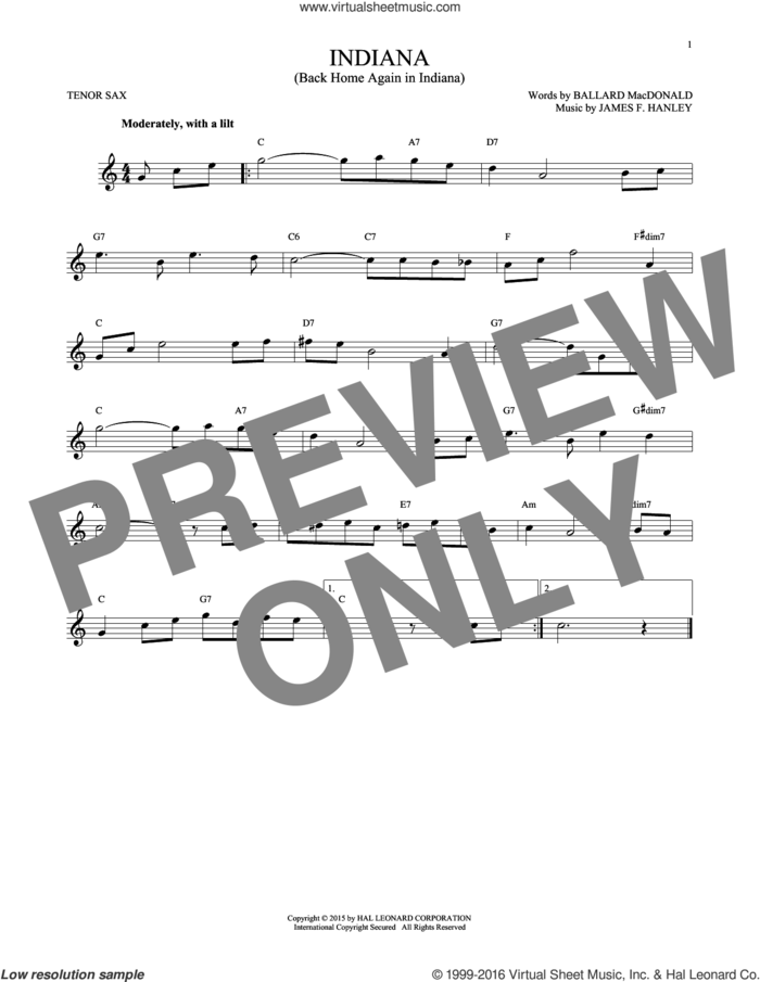 Indiana (Back Home Again In Indiana) sheet music for tenor saxophone solo by Ballard MacDonald and James Hanley, intermediate skill level
