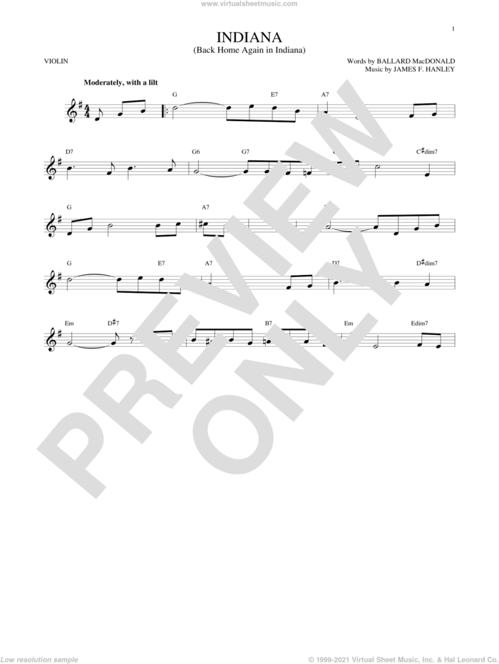 Indiana (Back Home Again In Indiana) sheet music for violin solo by Ballard MacDonald and James Hanley, intermediate skill level
