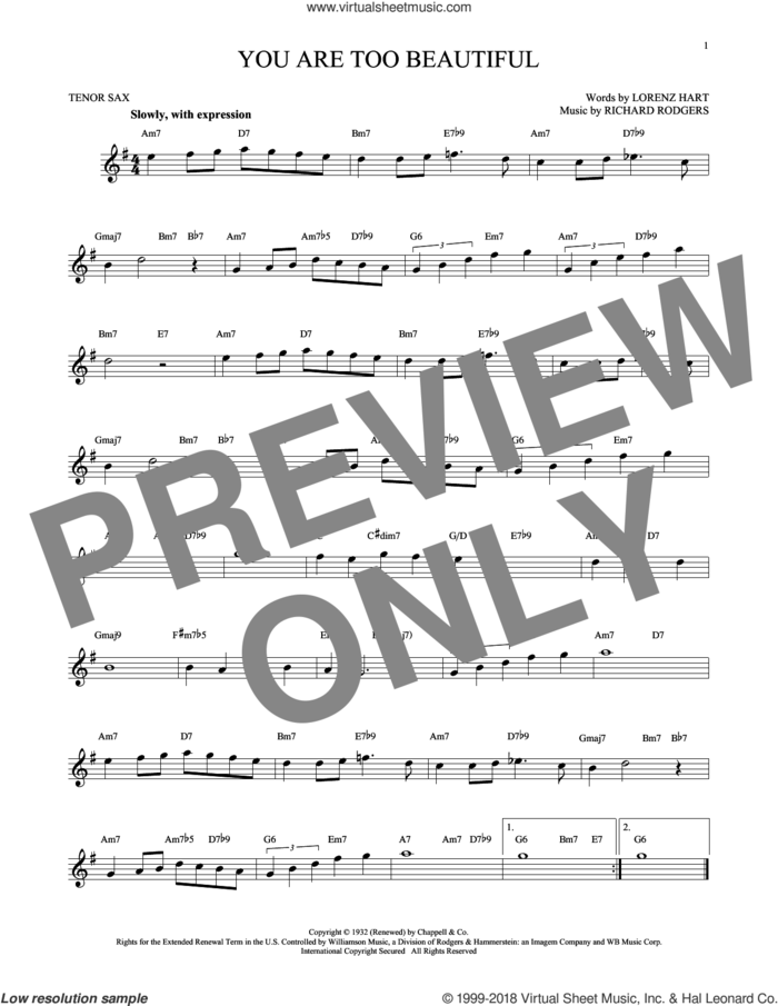 You Are Too Beautiful sheet music for tenor saxophone solo by Rodgers & Hart, Lorenz Hart and Richard Rodgers, intermediate skill level