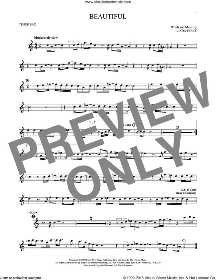 Beautiful sheet music for tenor saxophone solo by Christina Aguilera, Christina Aguilera & Beverly McClellan and Linda Perry, intermediate skill level