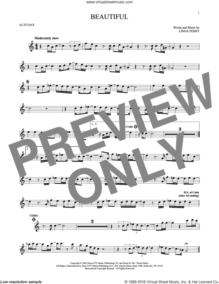 Beautiful sheet music for alto saxophone solo by Christina Aguilera, Christina Aguilera & Beverly McClellan and Linda Perry, intermediate skill level