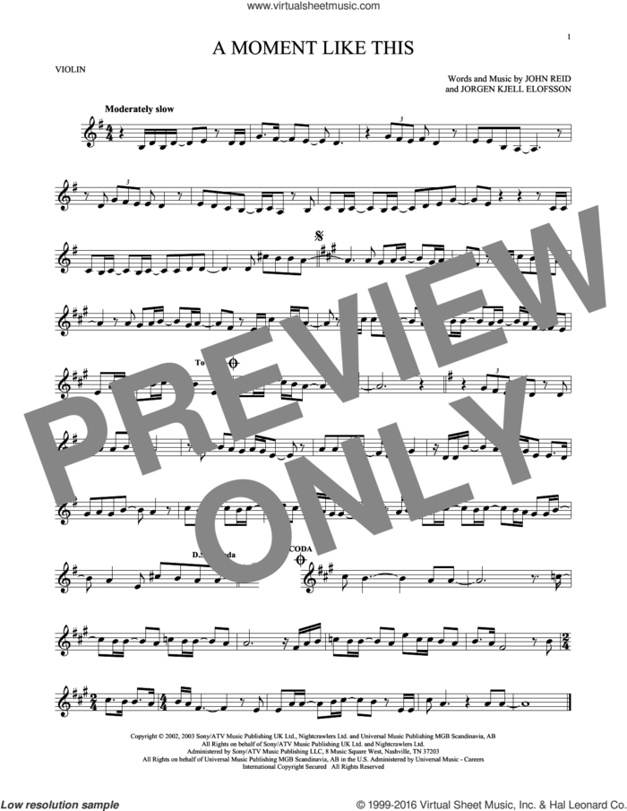 A Moment Like This sheet music for violin solo by Kelly Clarkson, John Reid and Jorgen Elofsson, intermediate skill level