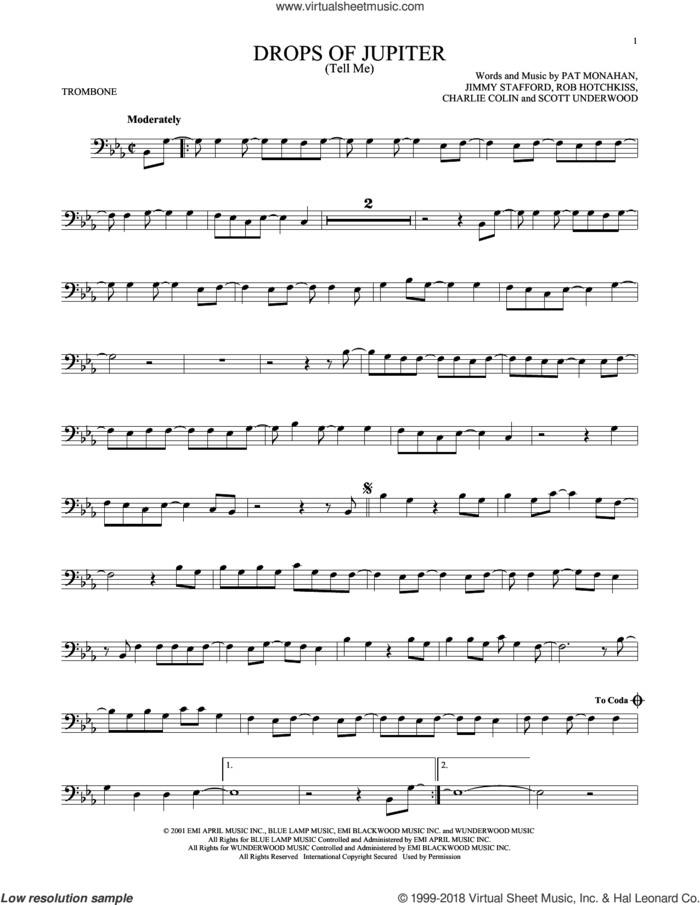 Drops Of Jupiter (Tell Me) sheet music for trombone solo by Train, Charles Colin, James Stafford, Pat Monahan, Robert Hotchkiss and Scott Underwood, intermediate skill level