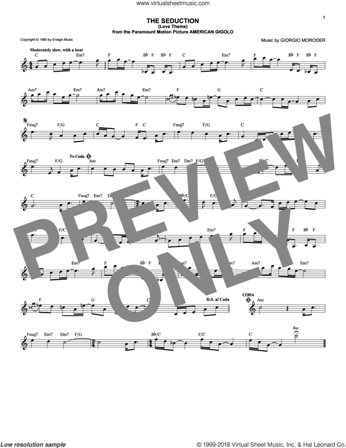 The Seduction (Love Theme) sheet music for voice and other instruments (fake book) by Giorgio Moroder, intermediate skill level