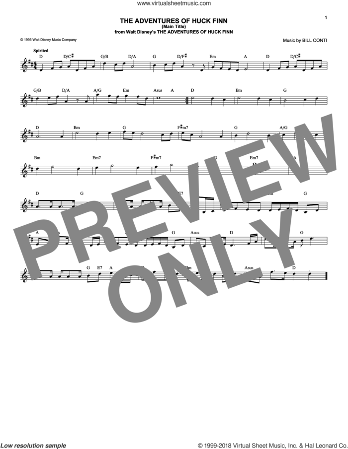 The Adventures Of Huck Finn (Main Title) sheet music for voice and other instruments (fake book) by Bill Conti, intermediate skill level
