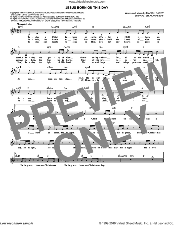 Jesus Born On This Day sheet music for voice and other instruments (fake book) by Mariah Carey and Walter Afanasieff, intermediate skill level