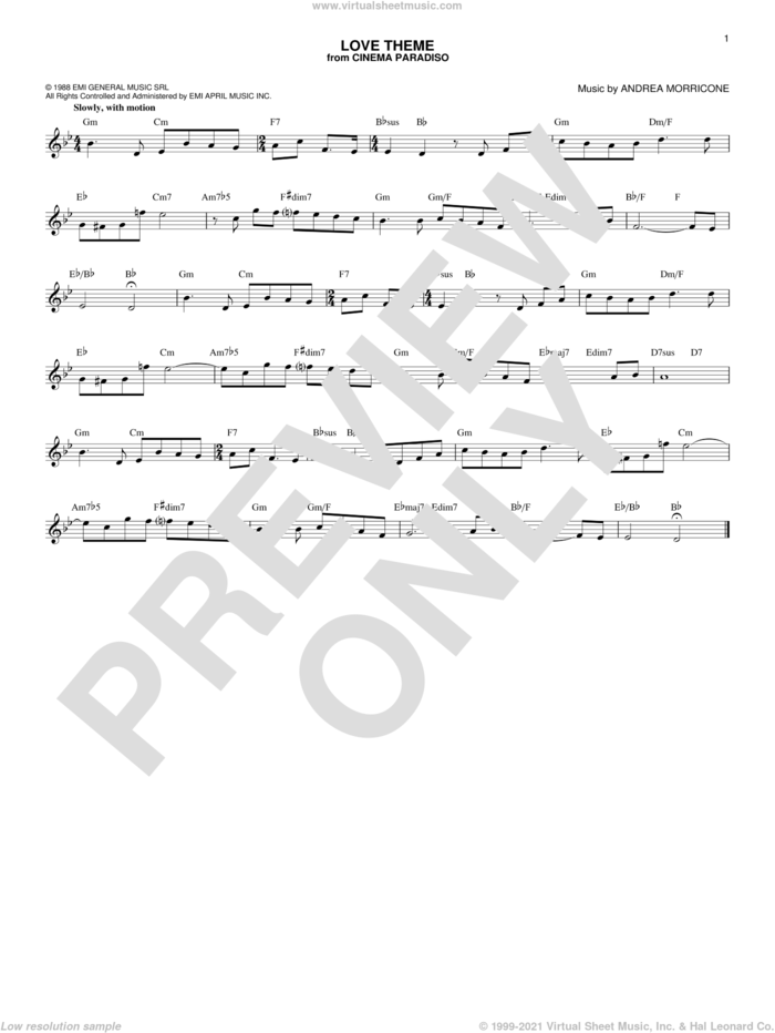Love Theme (Tema D'Amore) sheet music for voice and other instruments (fake book) by Ennio Morricone and Andrea Morricone, intermediate skill level