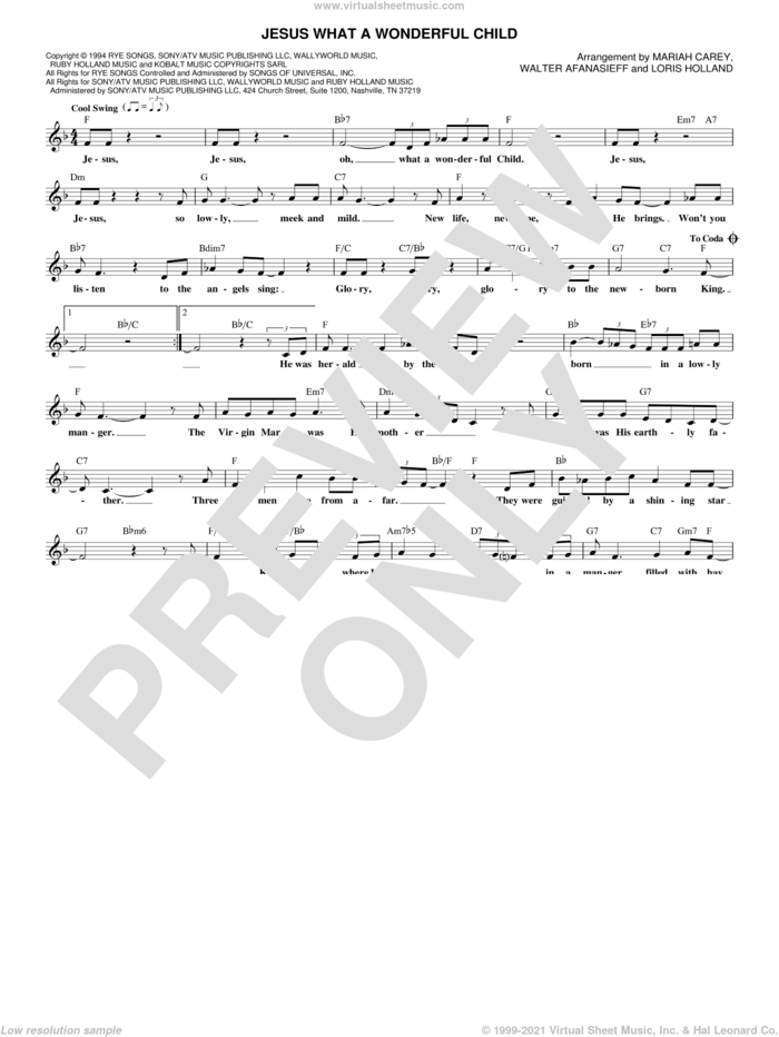 Jesus What A Wonderful Child sheet music for voice and other instruments (fake book) by Mariah Carey and Walter Afanasieff (arr.), intermediate skill level