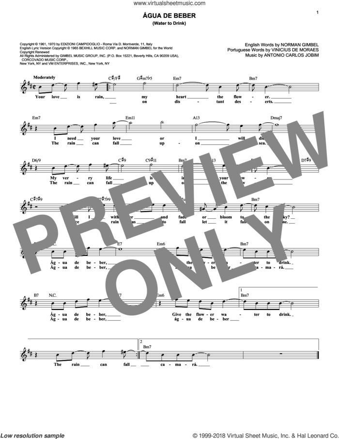Agua De Beber (Water To Drink) sheet music for voice and other instruments (fake book) by Norman Gimbel, Antonio Carlos Jobim and Vinicius de Moraes, intermediate skill level