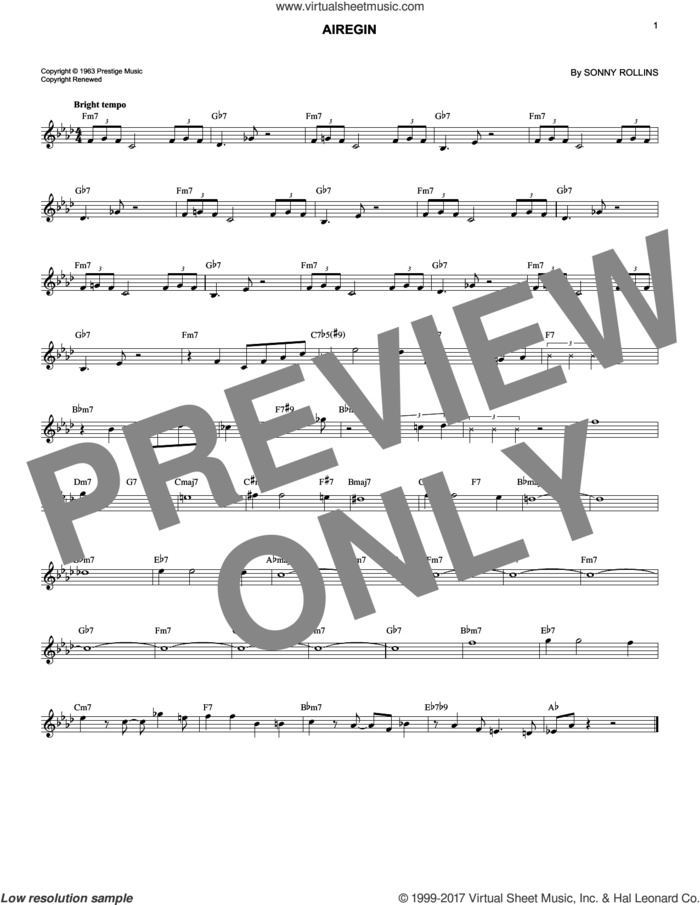 Airegin sheet music for voice and other instruments (fake book) by Sonny Rollins and John Coltrane, intermediate skill level