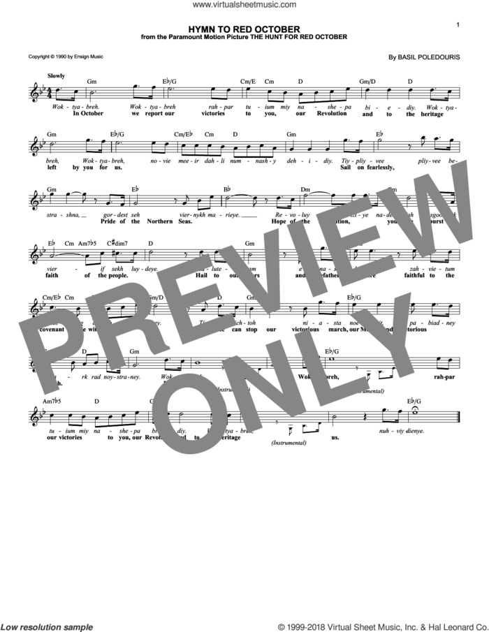 Hymn To Red October sheet music for voice and other instruments (fake book) by Basil Poledouris, intermediate skill level