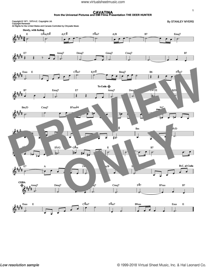 Cavatina (from The Deer Hunter) sheet music for voice and other instruments (fake book) by Stanley Myers, intermediate skill level