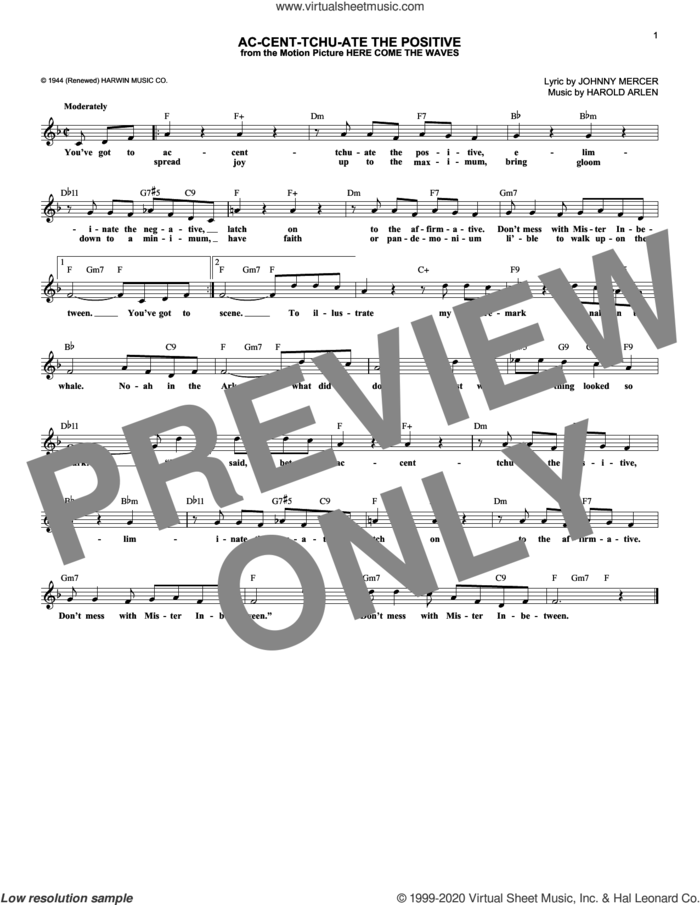 Ac-cent-tchu-ate The Positive sheet music for voice and other instruments (fake book) by Johnny Mercer and Harold Arlen, intermediate skill level
