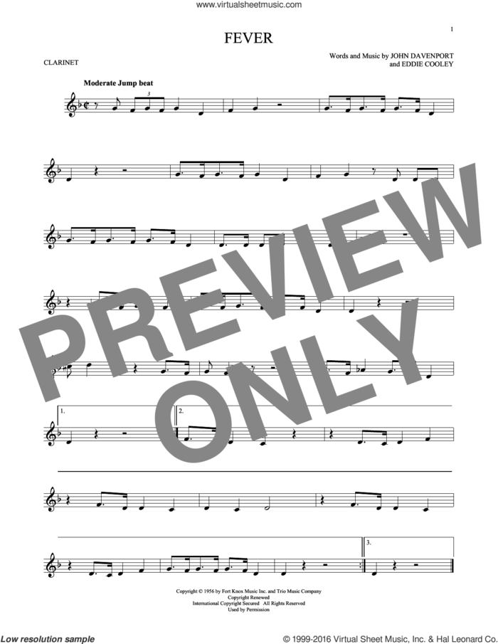 Fever sheet music for clarinet solo by Eddie Cooley, Peggy Lee and John Davenport, intermediate skill level