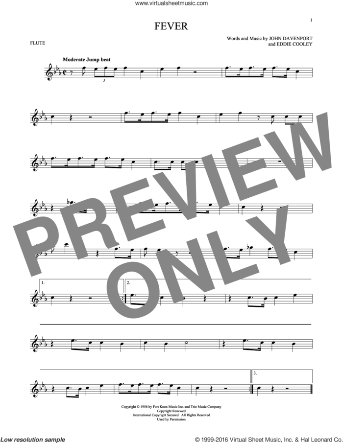 Fever sheet music for flute solo by Eddie Cooley, Peggy Lee and John Davenport, intermediate skill level