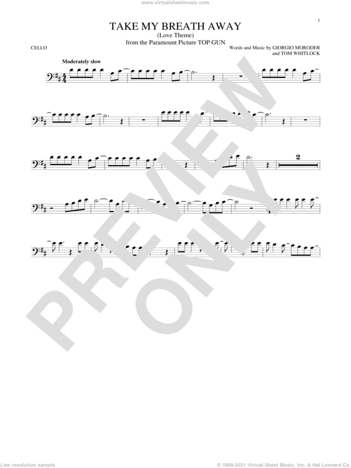 Take My Breath Away (Love Theme) sheet music for cello solo by Giorgio Moroder, Irving Berlin, Jessica Simpson and Tom Whitlock, intermediate skill level