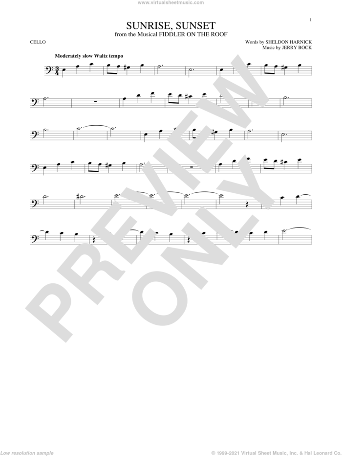 Sunrise, Sunset sheet music for cello solo by Jerry Bock and Sheldon Harnick, intermediate skill level