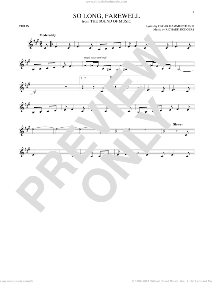 So Long, Farewell sheet music for violin solo by Rodgers & Hammerstein, Oscar II Hammerstein and Richard Rodgers, intermediate skill level