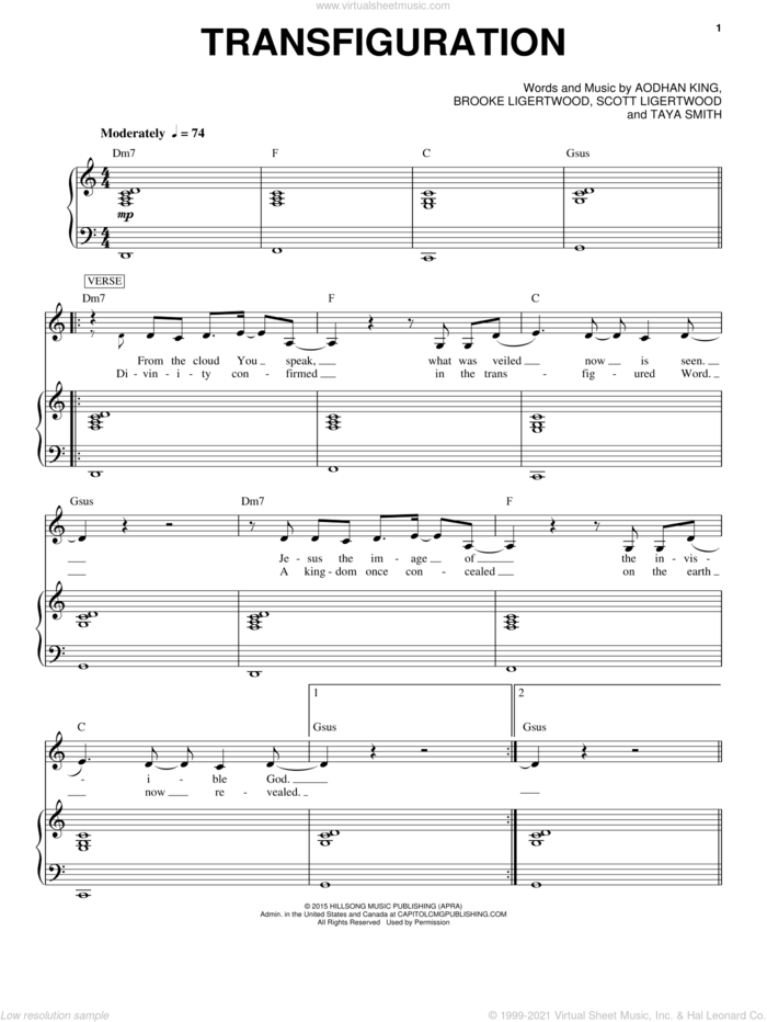 Transfiguration sheet music for voice and piano by Hillsong Worship, Aodhan King, Brooke Ligertwood, Scott Ligertwood and Taya Smith, intermediate skill level