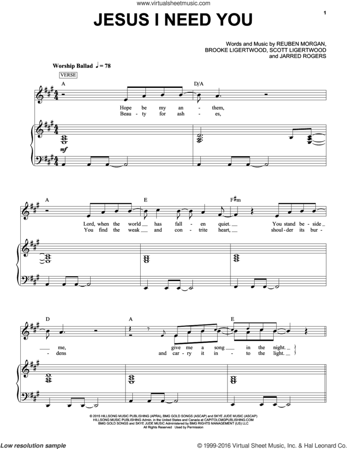 Jesus I Need You sheet music for voice and piano by Hillsong Worship, Brooke Ligertwood, Jarred Rogers, Reuben Morgan and Scott Ligertwood, intermediate skill level