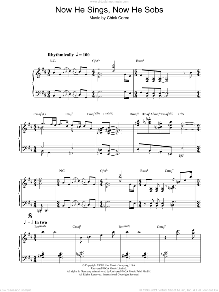 Now He Sings, Now He Sobs sheet music for piano solo by Chick Corea, intermediate skill level