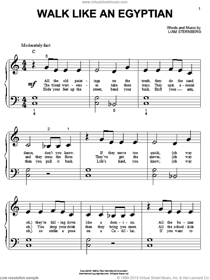 Walk Like An Egyptian sheet music for piano solo (big note book) by The Bangles and Liam Sternberg, easy piano (big note book)