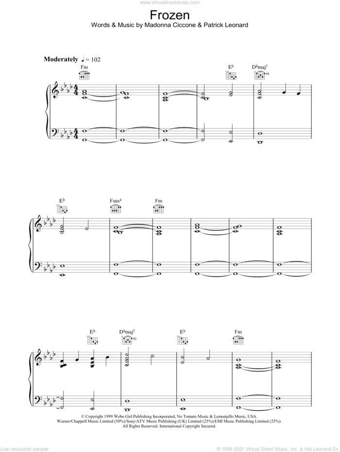 Frozen sheet music for voice, piano or guitar by Madonna and Patrick Leonard, intermediate skill level