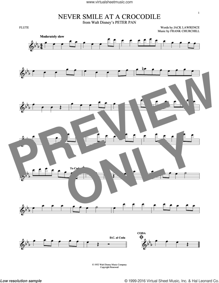 Never Smile At A Crocodile sheet music for flute solo by Jack Lawrence and Frank Churchill, intermediate skill level