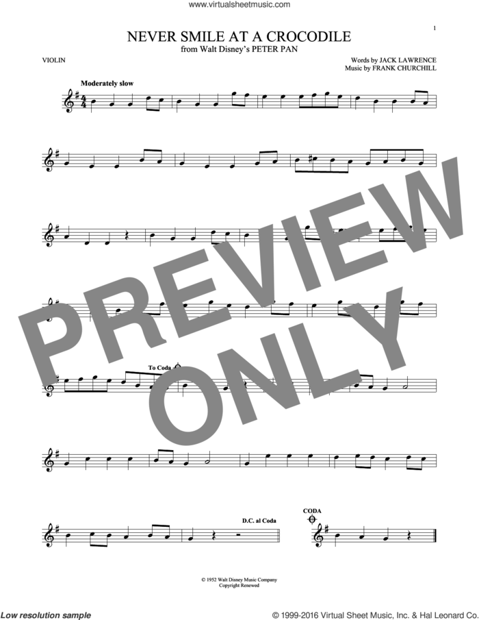 Never Smile At A Crocodile sheet music for violin solo by Jack Lawrence and Frank Churchill, intermediate skill level