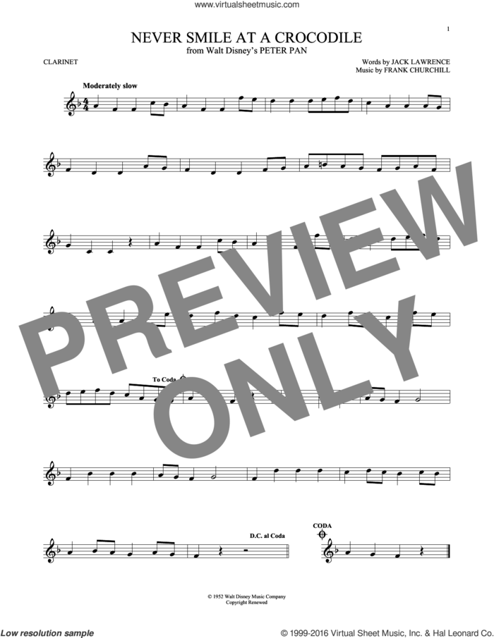 Never Smile At A Crocodile sheet music for clarinet solo by Jack Lawrence and Frank Churchill, intermediate skill level