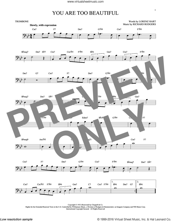 You Are Too Beautiful sheet music for trombone solo by Rodgers & Hart, Lorenz Hart and Richard Rodgers, intermediate skill level