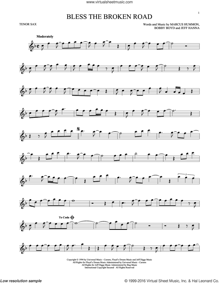 Bless The Broken Road sheet music for tenor saxophone solo by Rascal Flatts, Bobby Boyd, Jeffrey Hanna and Marcus Hummon, intermediate skill level