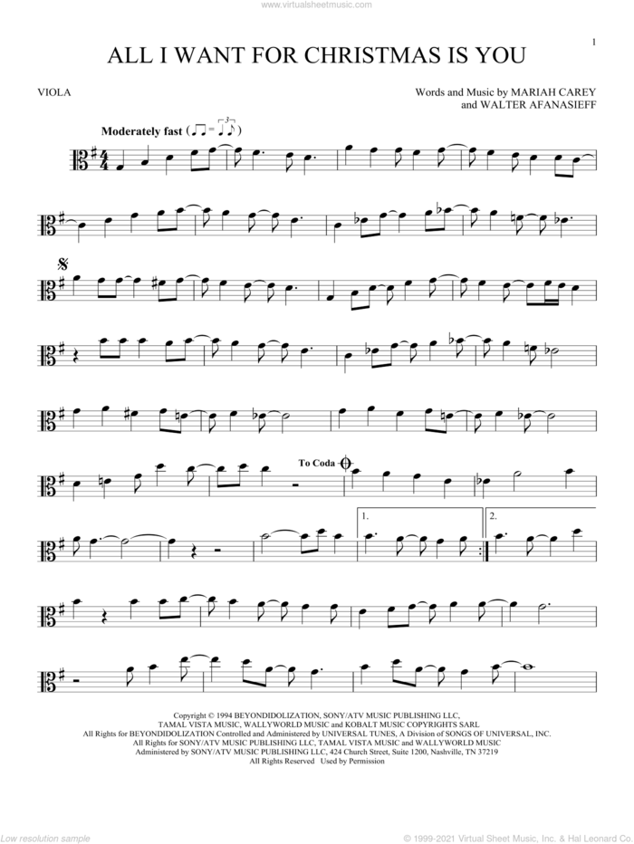 All I Want For Christmas Is You sheet music for viola solo by Mariah Carey and Walter Afanasieff, intermediate skill level