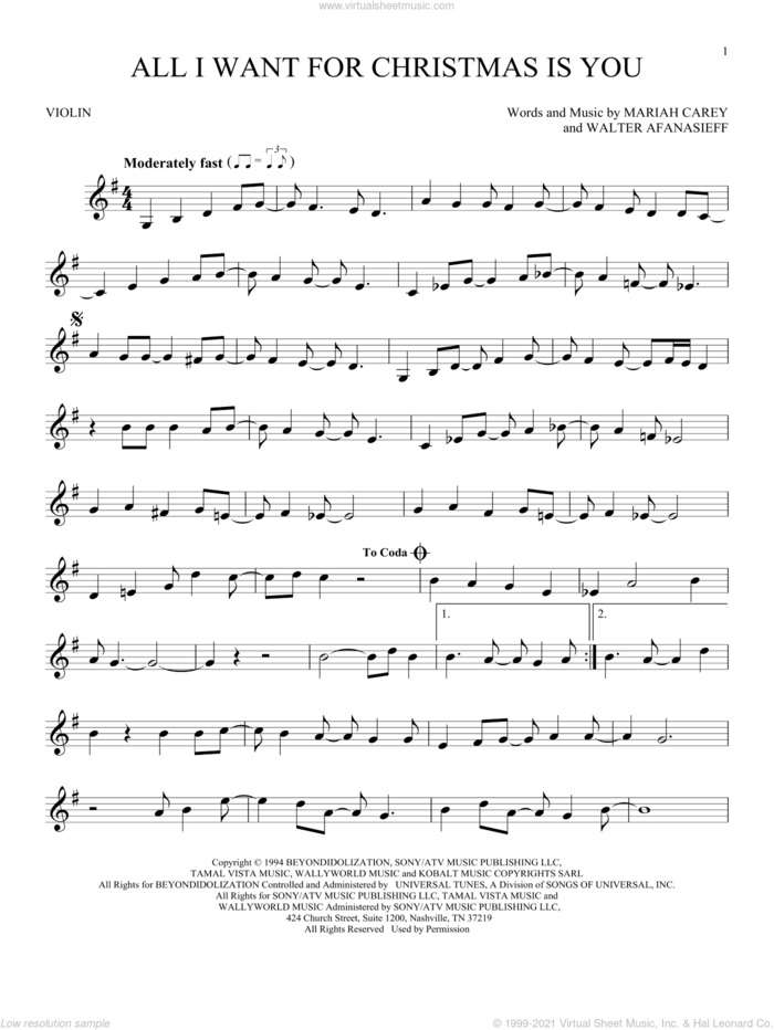 All I Want For Christmas Is You sheet music for violin solo by Mariah Carey and Walter Afanasieff, intermediate skill level
