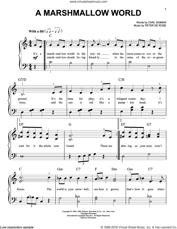 A Marshmallow World sheet music for piano solo by Carl Sigman and Peter DeRose, beginner skill level