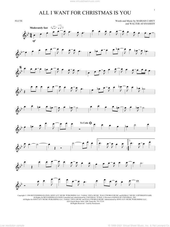 All I Want For Christmas Is You sheet music for flute solo by Mariah Carey and Walter Afanasieff, intermediate skill level