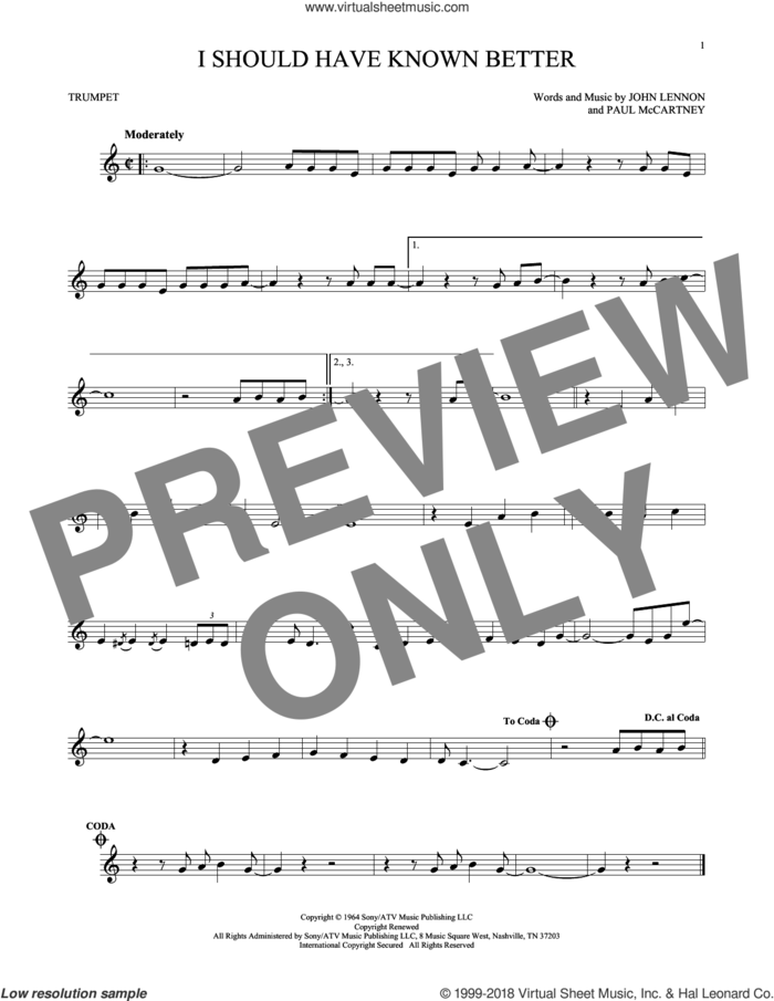 I Should Have Known Better sheet music for trumpet solo by The Beatles, John Lennon and Paul McCartney, intermediate skill level