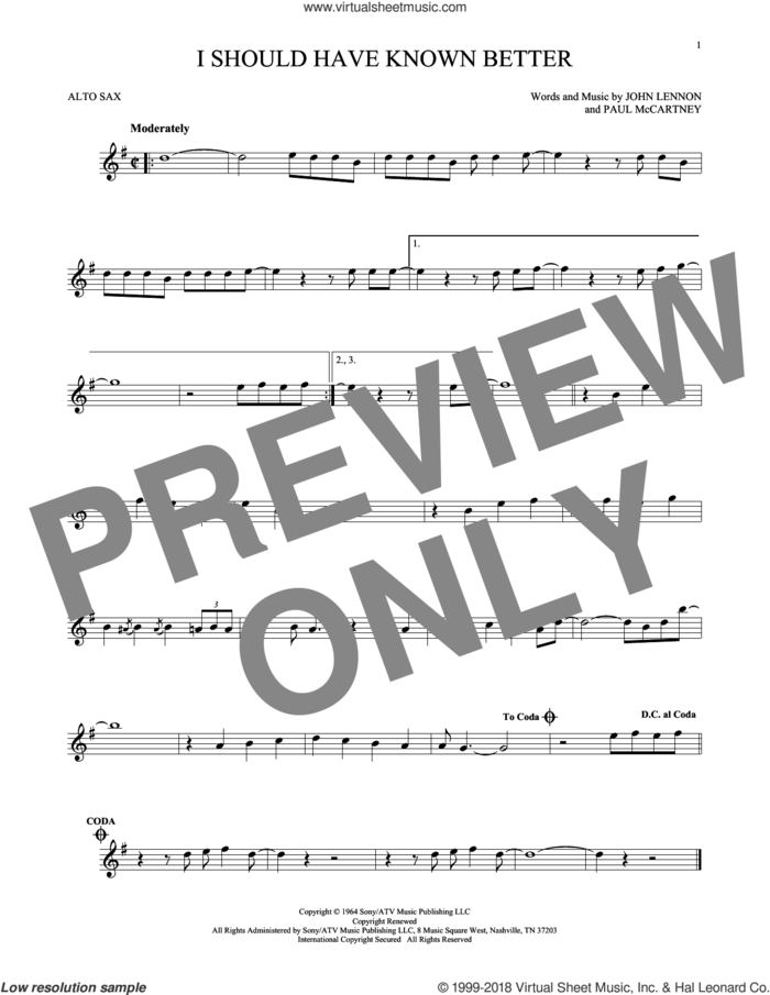 I Should Have Known Better sheet music for alto saxophone solo by The Beatles, John Lennon and Paul McCartney, intermediate skill level