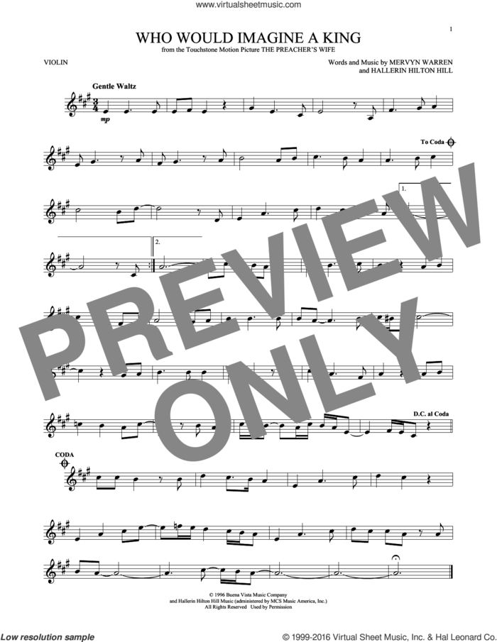 Who Would Imagine A King sheet music for violin solo by Whitney Houston, Hallerin Hilton Hill and Mervyn Warren, intermediate skill level
