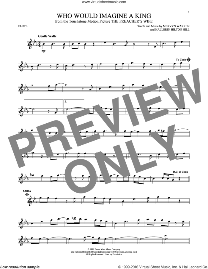 Who Would Imagine A King sheet music for flute solo by Whitney Houston, Hallerin Hilton Hill and Mervyn Warren, intermediate skill level
