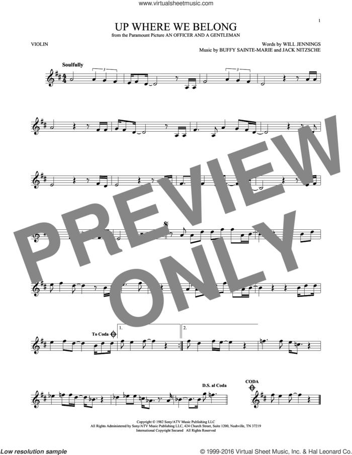 Up Where We Belong sheet music for violin solo by Joe Cocker & Jennifer Warnes, BeBe and CeCe Winans, Buffy Sainte-Marie, Jack Nitzche and Will Jennings, intermediate skill level